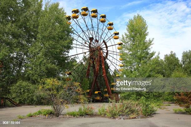 ferris wheel surrounded by tall trees in pripyat city near chernobyl - chernobyl stockfoto's en -beelden