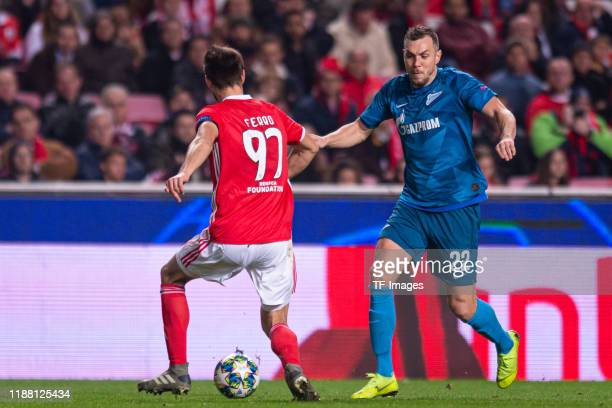 Ferro of SL Benfica and Artem Dzyuba of Zenit St Petersburg battle for the ball during the UEFA Champions League group G match between SL Benfica and...
