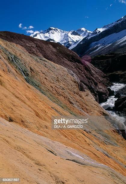 Ferruginous deposits Puente del Inca Mendoza province Argentina