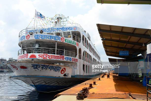 Ferry anchored at the Buriganga river port during lockdown. Like every other public transport, ferry services are also suspended amid Coronavirus...