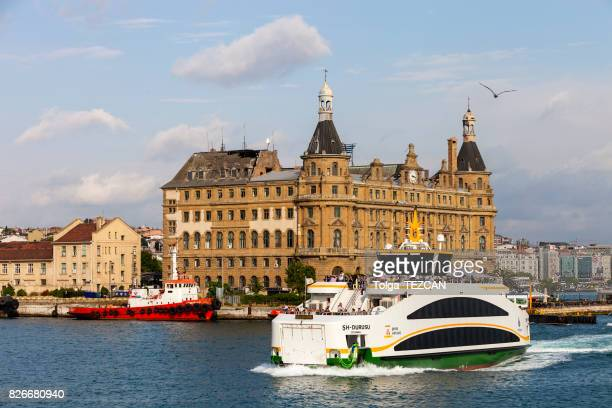 ferry and haydarpasa train station - haydarpasa stock photos and pictures