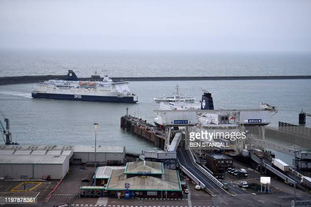 A ferry arrives at the port of Dover Kent on February 1 Britain on Saturday began an uncertain future outside the European Union hours after the...