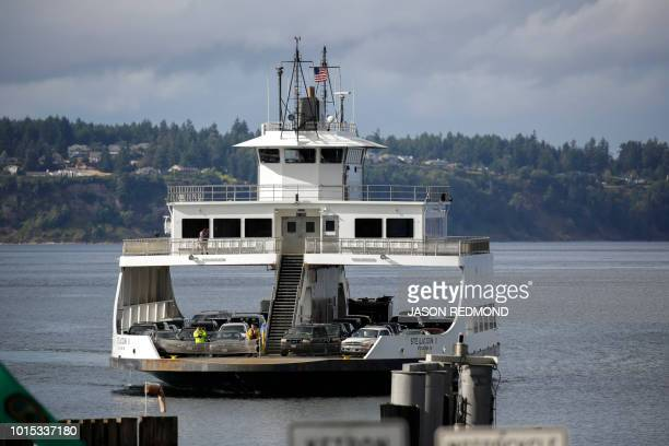 A ferry arrives at the Steilacoom Ferry dock which takes investigators to Ketron Island the crash site of the Horizon Air Bombardier Q400 turboprop...