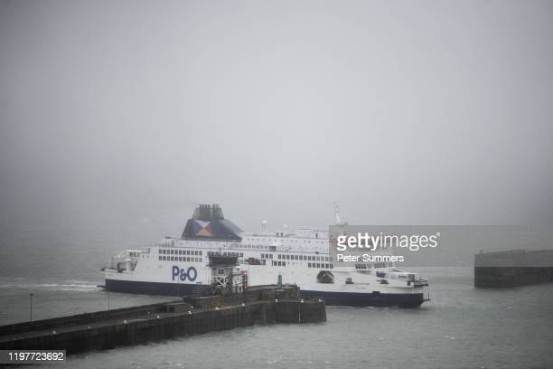 O ferry arrives in the Port of Dover as people prepare for Brexit on January 31 2020 in Dover England At 1100pm on Friday 31st January the UK and...