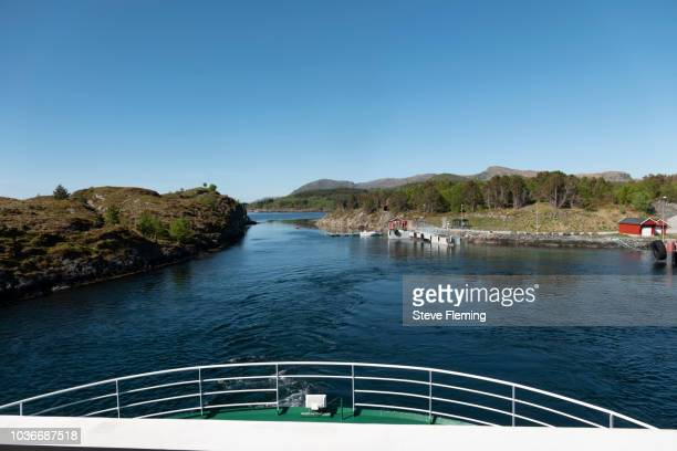 Ferry arriving at Leka Island, Norway.