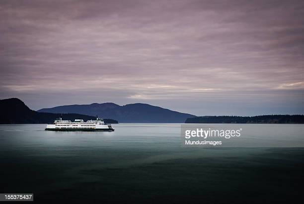 ferry at dusk - ferry stock pictures, royalty-free photos & images
