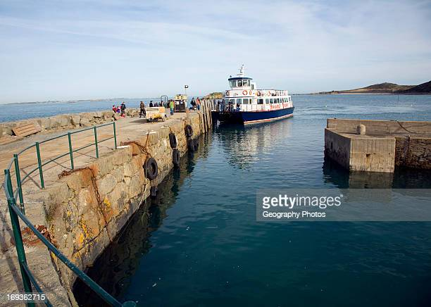 Ferry at quayside Island of Herm, Channel Islands, Great Britain.