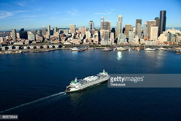 ferry boat and seattle skyline - ferry stock pictures, royalty-free photos & images