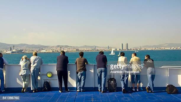 Ferry Boat Arriving in Port of Barcelona