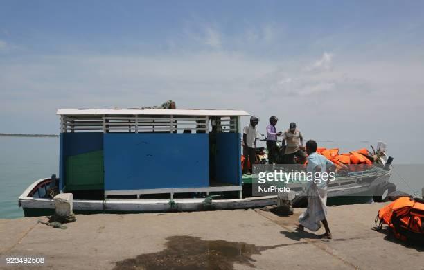 Ferry boat at Kurikadduvan Harbour in Northern Sri Lanka