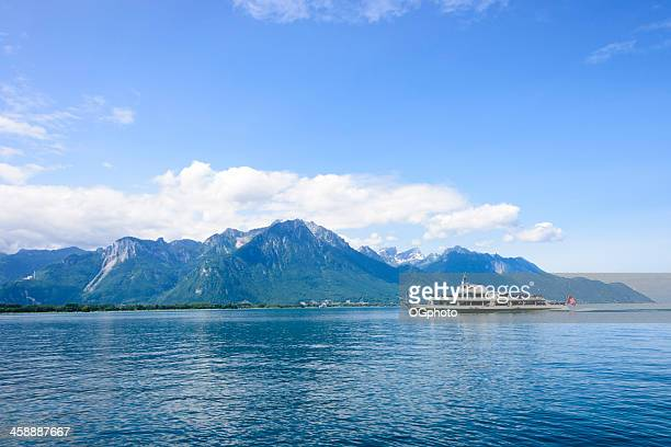 ferry boat crosses lake geneva between switzerland and france - ogphoto stock pictures, royalty-free photos & images