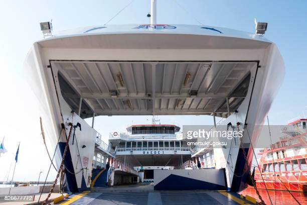 ferry boat inside in thassos, greece - thasos stock photos and pictures