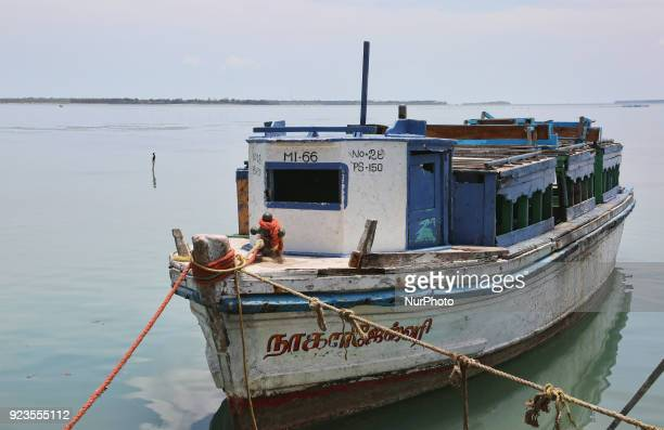 Ferry boat moored along Nainativu Island in the Jaffna region of Sri Lanka
