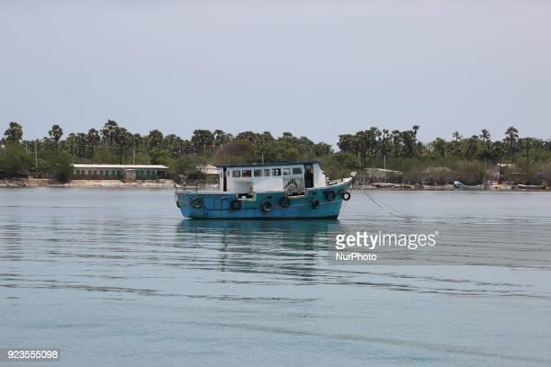 Ferry boat moored along Nainativu Island in the Palk straight in Northern Sri Lanka