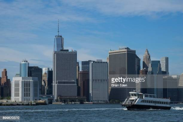 A ferry boat on the East River in New York City