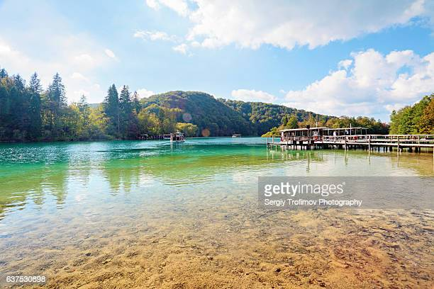 Ferry Boat on Water of Plitvice Lake. Scene in sunny day