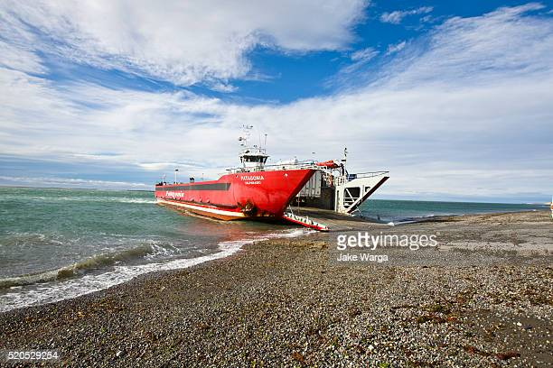 ferry boat, patagonia, chile, punta arenas to tierra del fuego - jake warga stock pictures, royalty-free photos & images
