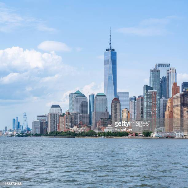ferry boat view of lower manhattan - hudson yards stock pictures, royalty-free photos & images