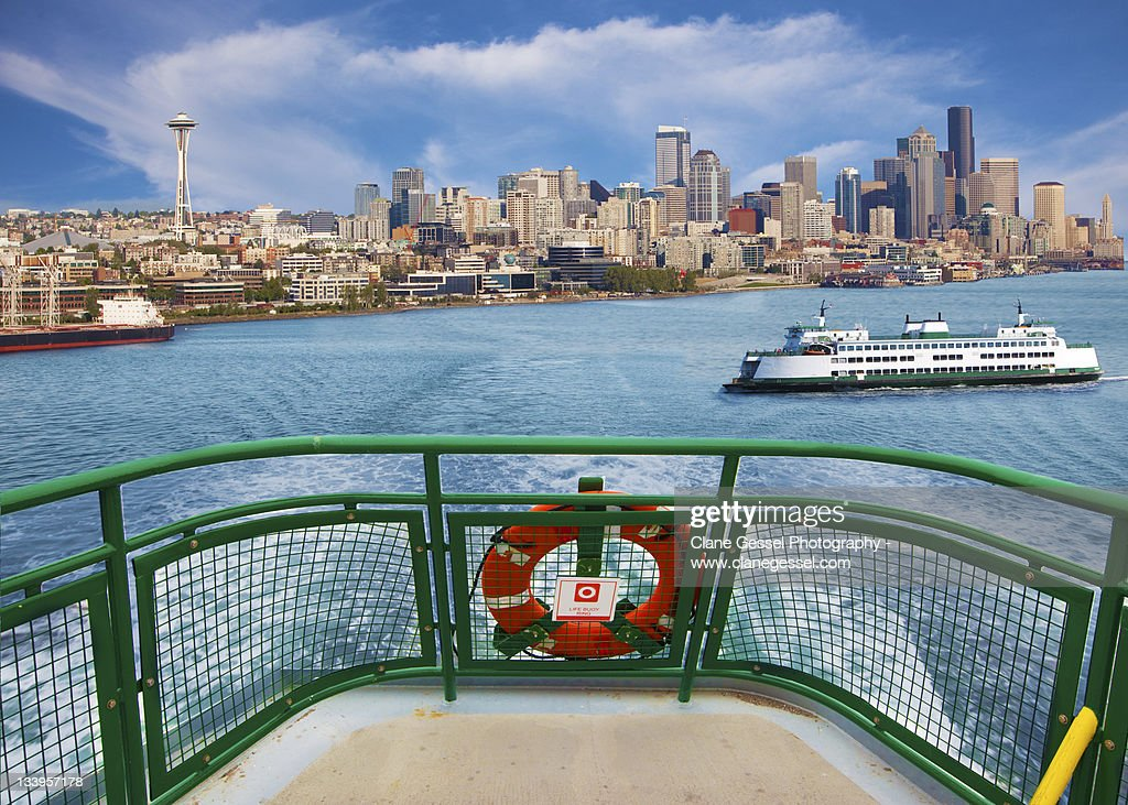 Ferry boat with Seattle skyline : Stock Photo