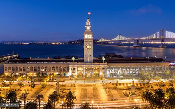 ferry building elevated night view - east bay regional park stock pictures, royalty-free photos & images