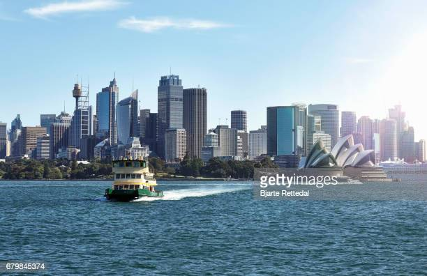 Ferry crossing the water from the Sydney Harbour