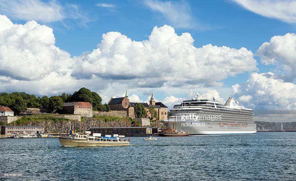 Ferry Cruise Ship And Akershus Fortress Oslo Norway Stock Photo - Cruise ship norway