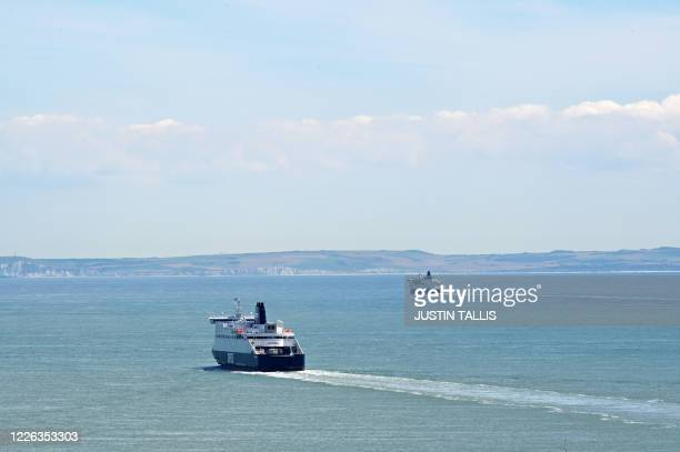 A ferry departs from the Port of Dover in Dover on the south coast of England on July 12 2020 Britain today pledged £705 million to prepare its...