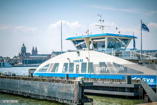 Ferry in Amsterdam over the IJ near Amsterdam Central Station