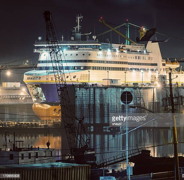ferry in dry dock - passenger craft stock pictures, royalty-free photos & images
