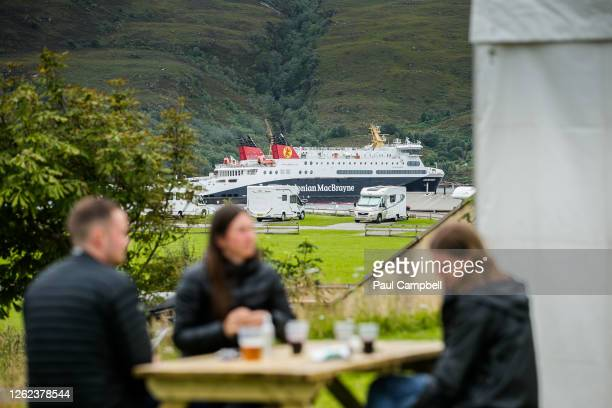 Ferry is seen while passenger numbers increase as Scotland sees an increase in tourist numbers on July 29, 2020 in Ullapool, Scotland. Scotland has...