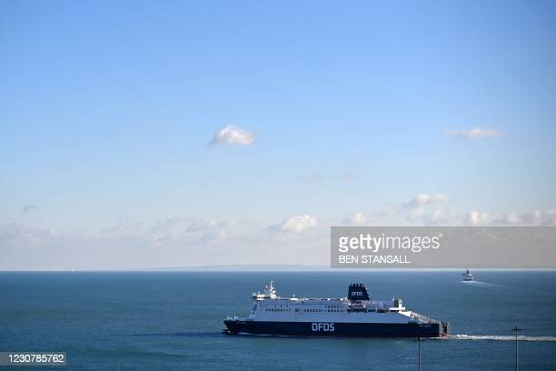 Ferry leaves the Port of Dover on the south coast of England on January 25, 2021. - EU foreign policy chief Josep Borrell on Monday slammed Britain's...