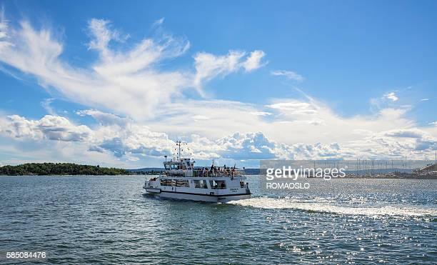 Ferry leaving Oslo harbor, Norway