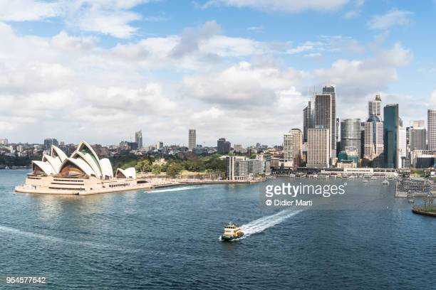 Ferry leaving the Circular Quay harbor in the heart of Sydney in Australia
