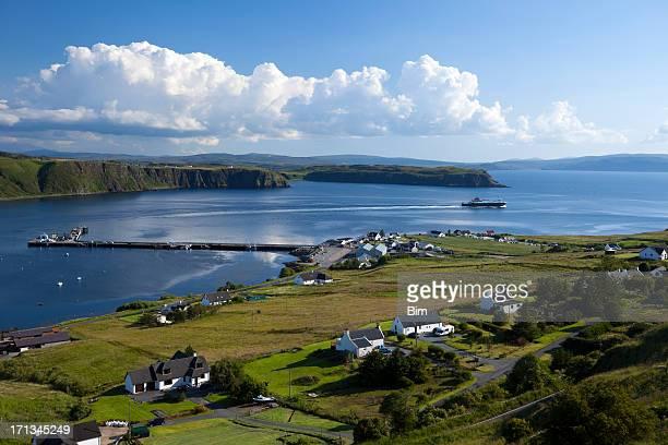 Ferry Leaving Uig Harbour, Isle of Skye, Scotland, UK