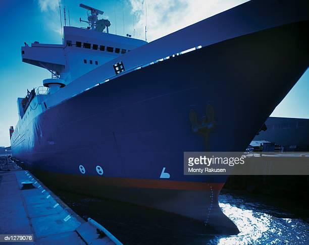 Ferry Moored in a Sea Lock at Immingham Port, Humberside, UK