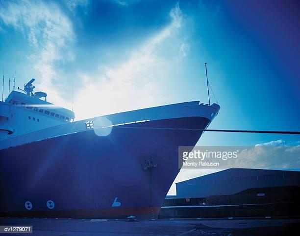 Ferry Moored in Port, Immingham, Humberside, UK