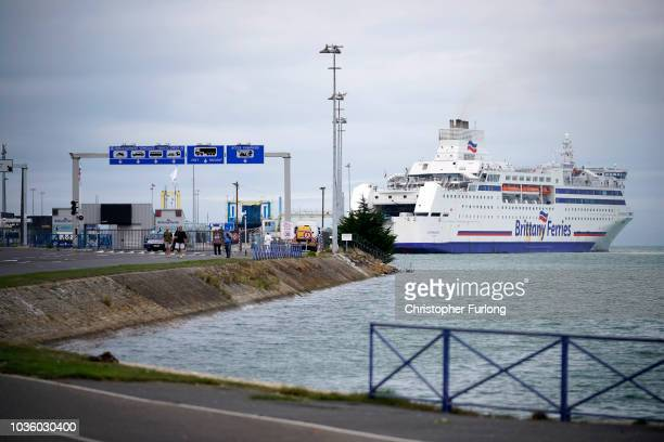 Ferry Normandie of Brittany Ferries arrives at Ouistreham ferry port on on September 12 2018 in Ouistreham France After the clamp down at Calais many...