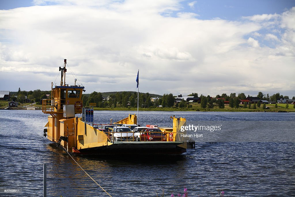 A ferry on Lule river Norrbotten Sweden. : Stock Photo