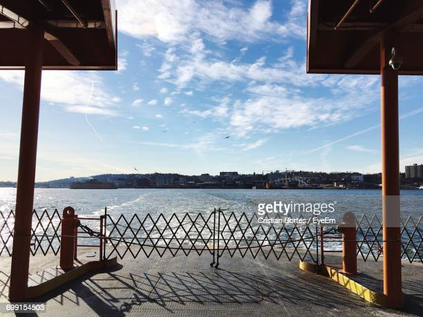 ferry on sea against sky - bortes stockfoto's en -beelden