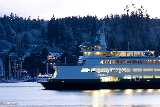 ferry parked at bainbridge island on a snowy evening - kitsap county washington state stock pictures, royalty-free photos & images