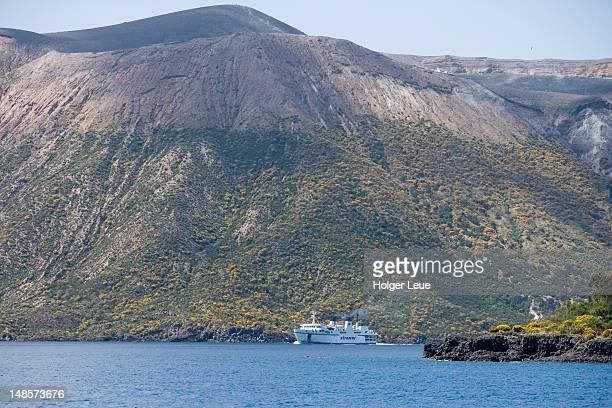 Ferry passing by Vulcano Della Fossa.