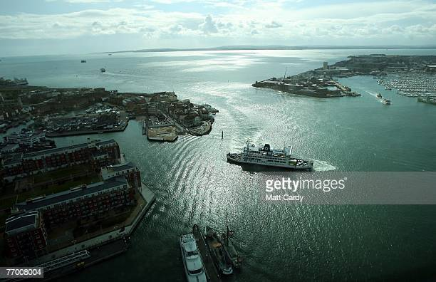 A ferry preparing to leave Portsmouth Harbour is seen from the Spinnaker Tower on September 25 2007 in Portsmouth England Originally scheduled for...