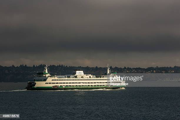 Ferry returning from Bainbridge Island heads for the downtown waterfront on November 4 in Seattle, Washington. Seattle, located in King County, is...