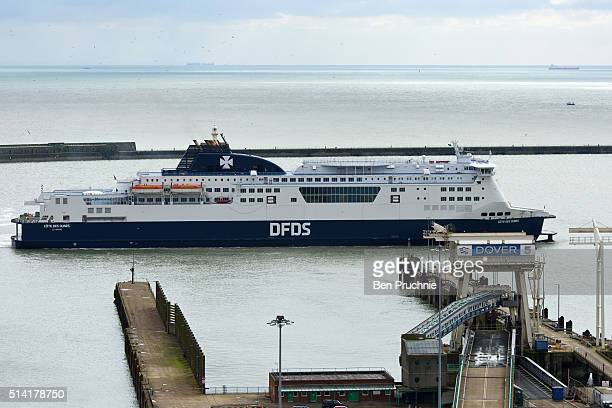 A ferry sails into The Port of Dover on March 7 2016 in Dover England The United Kingdom a member of the European Union an economic and political...