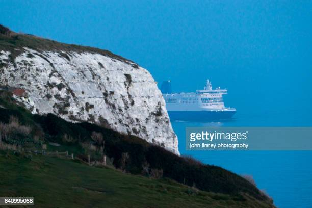 Ferry ship with the White cliffs of Dover. Kent. UK.