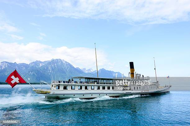 ferry that crosses lake geneva between switzerland and france - vaud canton stock photos and pictures