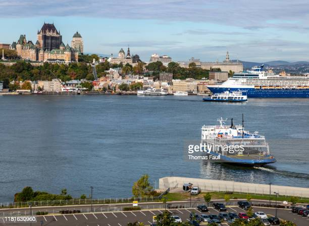 ferry to quebec city in canada - river st lawrence stock pictures, royalty-free photos & images