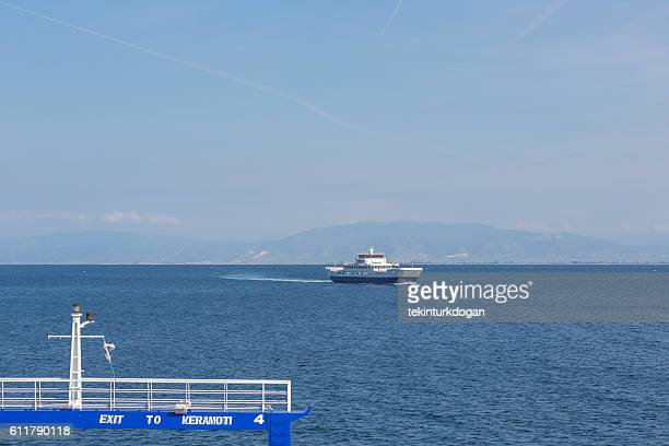 ferry transportation to thassos island from keramoti at kavala greece