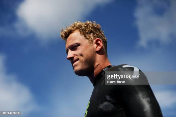 Ferry Weertman of the Netherlands walks onto the start platform ahead of the Men's 10km race during the Open Water Swimming on Day Eight of the...