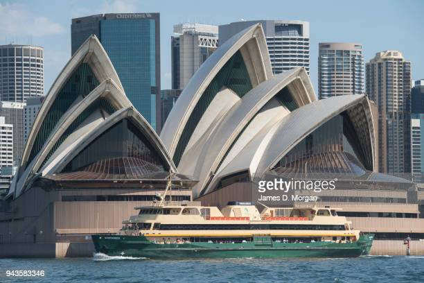A ferry with tourists on passes the Opera House on April 9 2018 in Sydney Australia Sydney has been experiencing unseasonably high temperatures for...